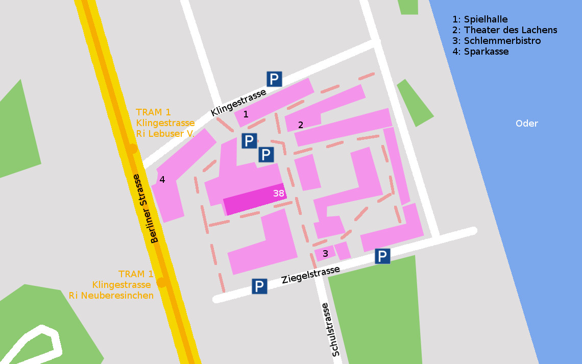 Ziegelstr. 38, 15230 Frankfurt (Oder). Tram 1 Ri Lebuser Vorstadt, Haltestelle Klingestrasse